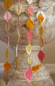 Fall felt garland on urn